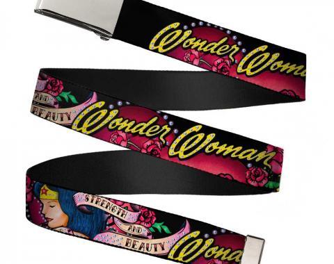 Chrome Buckle Web Belt - WONDER WOMAN/Roses STRENGTH AND BEAUTY Black-Pink Fade Webbing