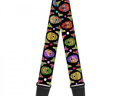 Guitar Strap - Colorful Calaveras Black/Multi Color