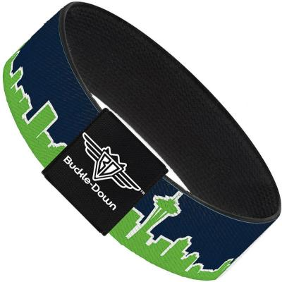 Buckle-Down Elastic Bracelet - Seattle Skyline Navy/Lime Green