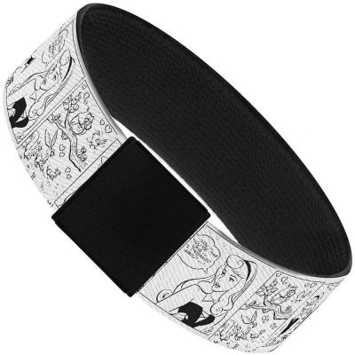 "Elastic Bracelet - 1.0"" - Sleeping Beauty Scene Blocks Outline White/Black"