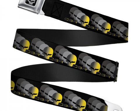C6R Jake Skull Seatbelt Belt - C6 Racing w/Skull Repeat Black/Yellow/Silver