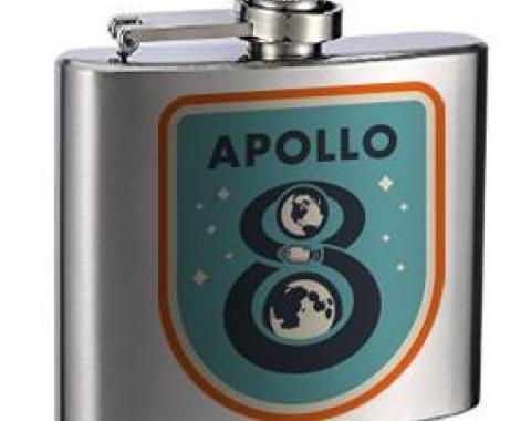 Stainless Steel Flask - 6 OZ - APOLLO 8 Orbit Blues/Orange/White
