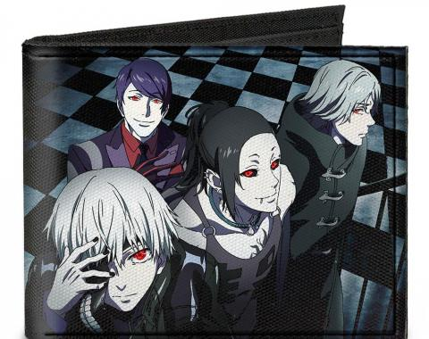 Canvas Bi-Fold Wallet - 4-Ghouls Walking Up Stairs Checker Tiles + TOKYO GHOUL