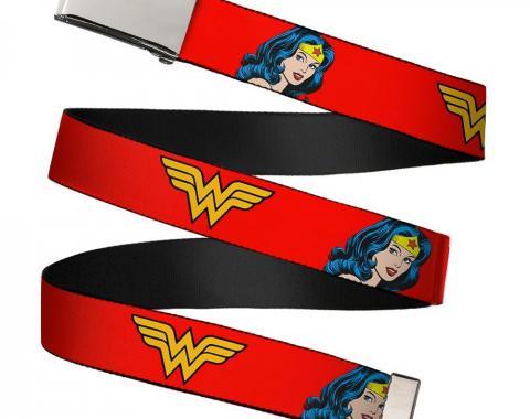 Chrome Buckle Web Belt - Wonder Woman Logo/Face Repeat Red Webbing