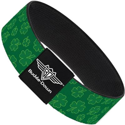 Buckle-Down Elastic Bracelet - St. Pat's Clovers Scattered Greens