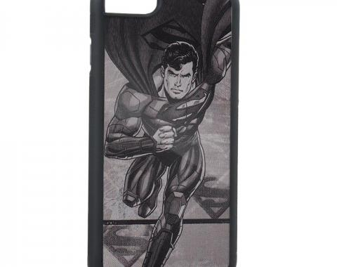 Rubber Cell Phone Case - BLACK - Superman Running Pose/Shield Brushed Silver