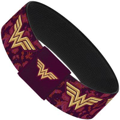 "Elastic Bracelet - 1.0"" - Wonder Woman Logo/Floral Collage Purple/Pinks/Gold"