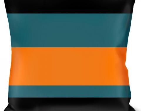 Buckle-Down Throw Pillow - Stripes Black/Steel Blue/Orange