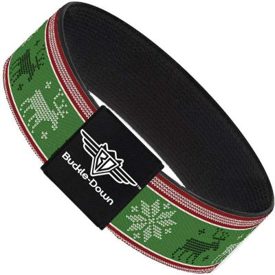 Buckle-Down Elastic Bracelet - Christmas Stitch Moose/Snowflakes Red/Green