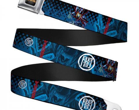 YU-GI-OH! Logo Full Color Black-Fade/Gold Seatbelt Belt - Dark Magician Poses/DARK Kanji2 Blues/White/Red Webbing