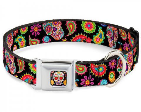 Dog Collar TYA-Sugar Skull Starburst Full Color Black/Multi Color - Bobo Sugar Skull/Paisley Black/Multi Color