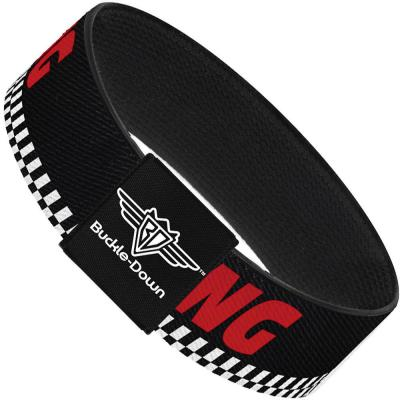 Buckle-Down Elastic Bracelet - RACING/Checker Black/White/Red
