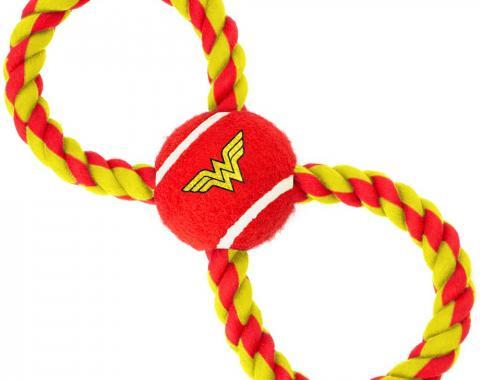 Dog Toy Rope Tennis Ball - Wonder Woman Logo Red/Yellow + Red/Yellow Rope