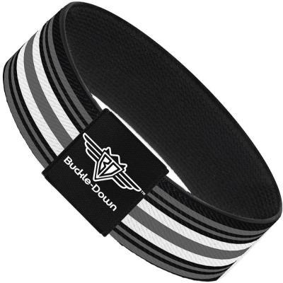 Buckle-Down Elastic Bracelet - Striped Black/Gray/White