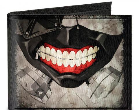 Canvas Bi-Fold Wallet - Masked Ken Kaneki Face CLOSE-UP + TOKYO GHOUL Black/Grays/Red