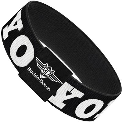 Buckle-Down Elastic Bracelet - YOLO Bold Black/White