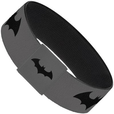 "Elastic Bracelet - 1.0"" - Retro Bat Logo Gray/Black"