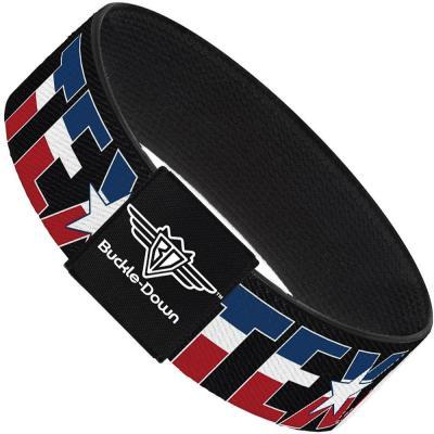 Buckle-Down Elastic Bracelet - TEXAS w/Star Black/White/Blue/Red
