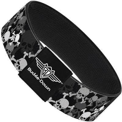 Buckle-Down Elastic Bracelet - Top Skulls Stacked Black/Gray/White