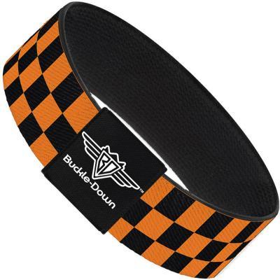 Buckle-Down Elastic Bracelet - Checker Black/Neon Orange