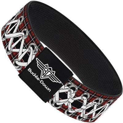 Buckle-Down Elastic Bracelet - Corset Lace Up Red Plaid/Black