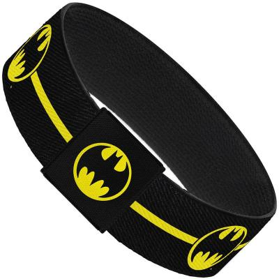 "Elastic Bracelet - 1.0"" - BATMAN/Bat Signal Single Stripe Black/Yellow"