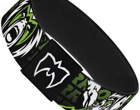 "Elastic Bracelet - 1.0"" - ULTIMATE WARRIOR Pose/Face Black/Green/White/Pink"