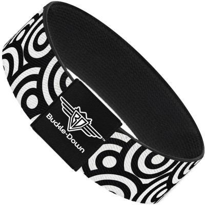 Buckle-Down Elastic Bracelet - Bullseye Stacked Black/White