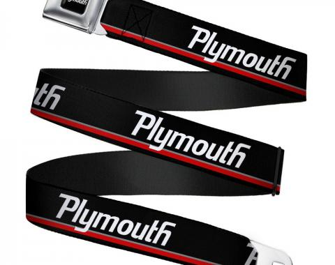 PLYMOUTH Text Logo Full Color Black/White Seatbelt Belt - PLYMOUTH Text/Stripe Black/White/Gray/Red Webbing
