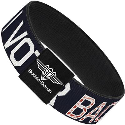 Buckle-Down Elastic Bracelet - VOTE FOR BACON Black/White/Bacon