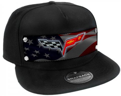 Embellishment Trucker Hat BLACK - Full Color Strap - C6 Emblem Waving American Flag