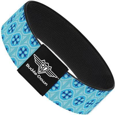 Buckle-Down Elastic Bracelet - Wallpaper2 Baby Blue/Blue