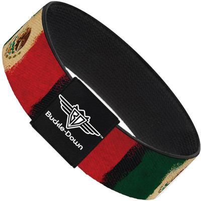 Buckle-Down Elastic Bracelet - Mexico Flag Distressed Painting
