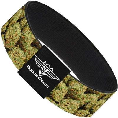 Buckle-Down Elastic Bracelet - Vivid Marijuana Nugs2 Stacked