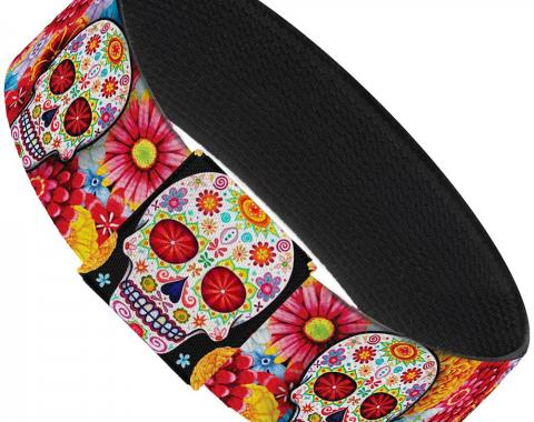 "Elastic Bracelet - 1.0"" - Sugar Skull Starburst White/Multi Color"