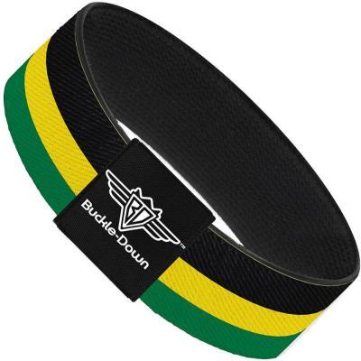 Buckle-Down Elastic Bracelet - Stripes Black/Yellow/Green