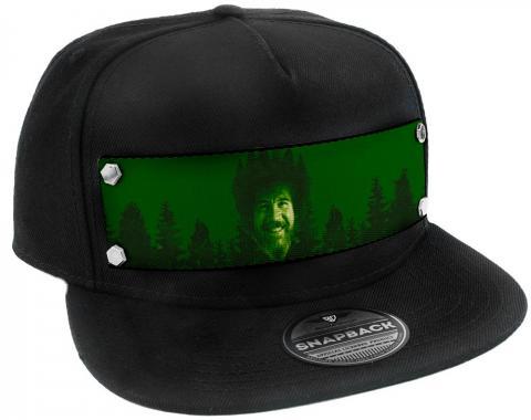Embellishment Trucker Hat BLACK - Bob Ross Smiling Green/Black