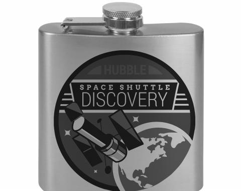Stainless Steel Flask - 6 OZ - SPACE SHUTTLE DISCOVERY Hubble Telescope Tonal Grays