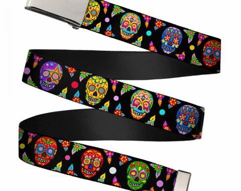 Chrome Buckle Web Belt - Colorful Calaveras Black/Multi Color Webbing