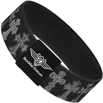 Buckle-Down Elastic Bracelet - Elegant Crosses Black/Grays