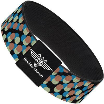 Buckle-Down Elastic Bracelet - Polka Dots Stacked Black/Blue/Sage/Brown