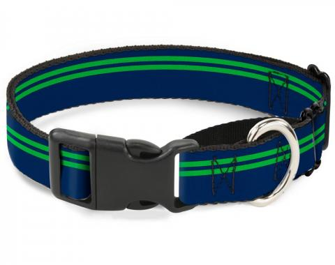 Plastic Martingale Collar - Racing Stripe Navy/Bright Green