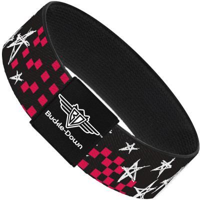 Buckle-Down Elastic Bracelet - Sketch Stars w/Checkers Black/Fuchsia/White
