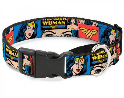 Plastic Martingale Collar - Wonder Woman Panels Blue