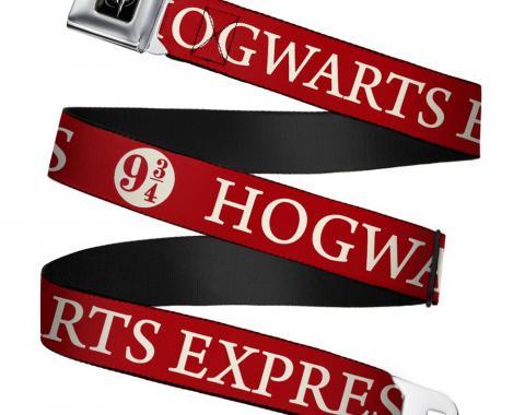 Harry Potter Logo Full Color Black/White Seatbelt Belt - HOGWARTS EXPRESS 9_ Red/White Webbing