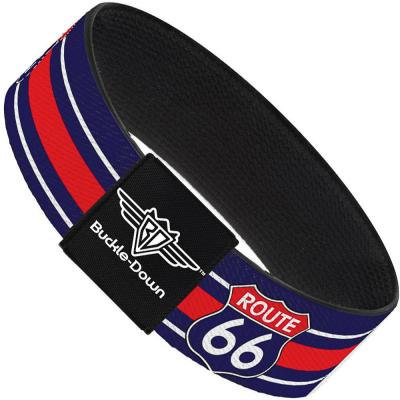 Buckle-Down Elastic Bracelet - ROUTE 66 Highway Sign/Stripe Blue/White/Red