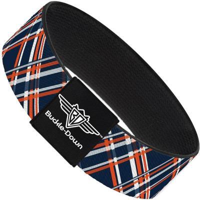 Buckle-Down Elastic Bracelet - Plaid X3 Navy/Orange/White