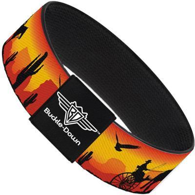 Buckle-Down Elastic Bracelet - Cowboy Silhouette/Western Landscape Reds/Black
