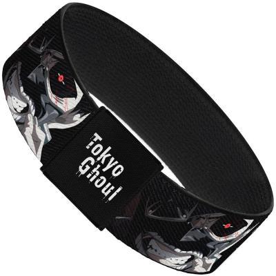"""Elastic Bracelet - 1.0"""" - TOKYO GHOUL Kanji/Ken Kaneki Face CLOSE-UP Black/White"""