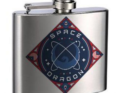 Stainless Steel Flask - 6 OZ - SPACEX DRAGON Dragon Blues/Reds/White